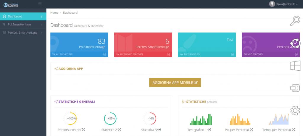 schermata del back end di smartheritage web app